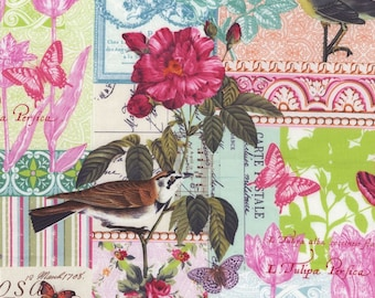 Belle Rose French Collage  (dc4783) - Michael Miller Fabrics - By the Yard