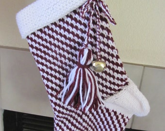 Hand Knitted Stocking Burgundy and White Candy Strip