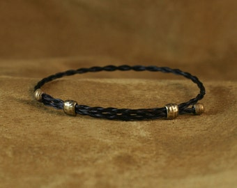 Adjustable Horsehair Bracelet with Brass Beads