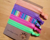 Elastic hair tie set - Ponytail holder/bracelet - rainbow - orange, purple, rainbow stripe, pink, lime green