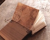 handmade journal - unique wood book  black walnut - gifts for men - recipe book - made to order
