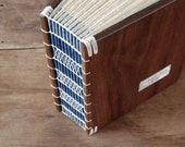 wood guest book -black walnut - custom wedding personalized navy blue brown rustic - made to order