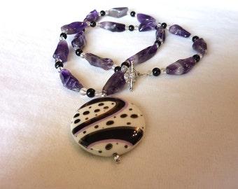 Amethyst Jet Quartz Crystal Porcelain Pendant Necklace - 24 Inches - Purple Passion