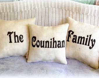 Burlap Pillows Customized for Family and Wedding Front and Back