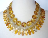 Golden Yellow Big Statement Necklace, Big Bold Chunky Multistrand Artisan Necklace, Semiprecious Stone