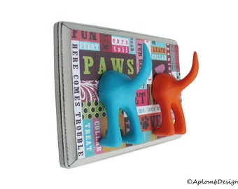 Dog Leash Holder - Double Here Comes Trouble - Personalize with optional letter tiles