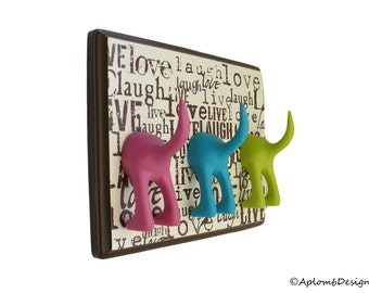 Dog Leash Holder - Triple Tail -  Live, Laugh, Love - Personalize it with Optional Letter Tiles