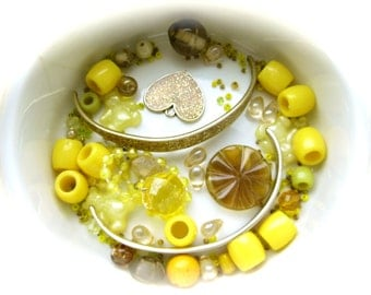 Upcycled Supplies - Bead Mixed Lot - Sunny Yellow