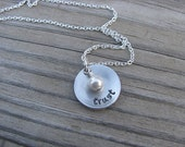 "Inspirational Word Necklace- brushed silver domed disc with ""trust"" and an accent bead in your choice of colors- Hand-Stamped Jewelry"