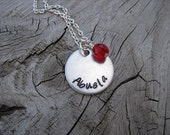 "Spanish Grandmother's Necklace- Hand-stamped ""Abuela"" with a birthstone or an accent bead in your choice of colors"