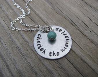 "Inspiration Necklace- ""cherish the memories"" with an accent bead in your choice of colors- Hand-Stamped Jewelry"