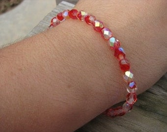 Layering Bracelet- Red and Clear Glass Beaded Bracelet