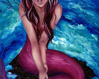 Shy Mermaid Original Watercolor Art Color Print