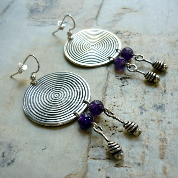 Concentric Circle Earrings: Sterling Silver Earrings Concentric Circles Earrings Round