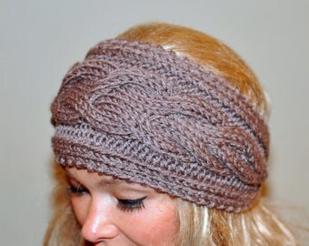 Earwarmer Cabled Ear Warmer Winter Crochet Headband Chunky Ear warmer CHOOSE COLOR Taupe Brown Cappuccino Warm Hair Band Christmas Gift
