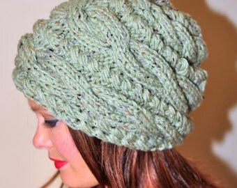 Women Hat Slouchy Hat Slouch Beanie Cable Hand Knit Winter  Women CHOOSE COLOR Green Sage Chunky Hand Knit Christmas Gift
