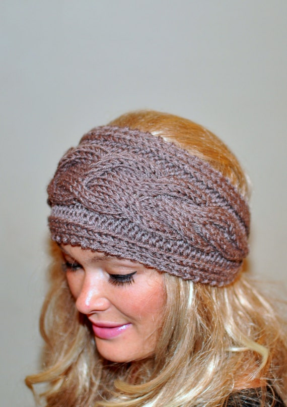 Knitted Headband Pattern On Circular Needles : Earwarmer Cabled Ear Warmer Winter Crochet Headband Chunky Ear