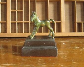 Vintage Horse Figurine Bookend Metal Pony Trophy Doorstop Brass Horse Figure