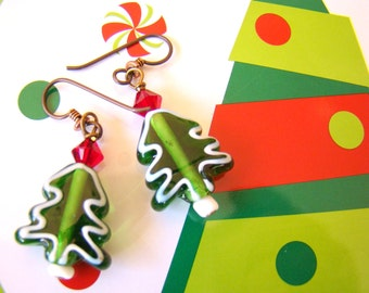 Christmas Tree Earrings Lampwork Glass Trees with Red Swarovski Crystals  Beaded Holiday Earrings - HO0005
