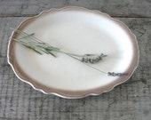 vintage restaurant ware creamy white platter with taupe trim Homer Laughlin