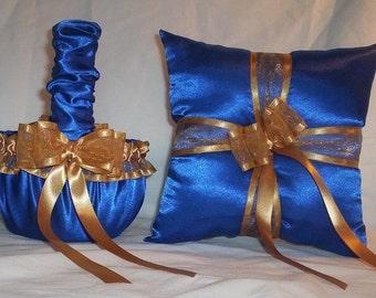 Blue Horizon Satin With Gold Ribbon Trim Flower Girl Basket And Ring Bearer Pillow Set 1