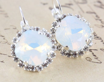 Opal Bridesmaid Earrings Set of 3 Pairs Bridal Party Jewelry White Wedding Earrings Swarovski Crystal Earring Also Avail As Clip On Earrings