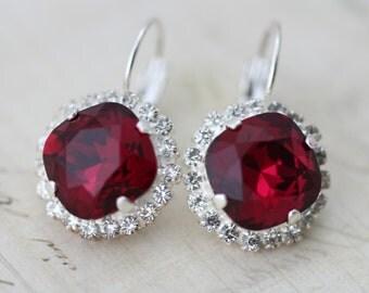 Ruby Earrings Bridesmaids Red/Pink Swarovski Crystal Earrings Bridal Earrings Bridesmaids Earrings Silver Wedding