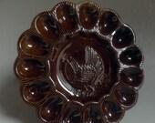 vintage EGG Plate, deviled egg Server, ceramic, made in California,USA