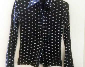 Stretchy Blouse / shirt, Black with tiny white flowers, small women and teens