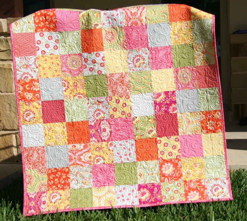 Designer Baby Quilt Orange Pink Purple Yellow Green High