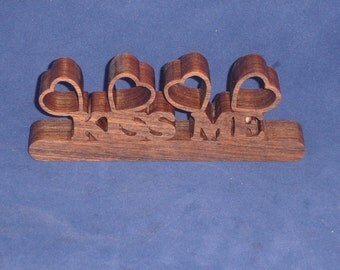 Valentines Kiss Me Hearts Desk Or Shelf Decor Handcrafted From Walnut Wood