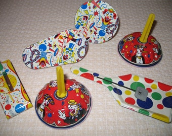 Vintage lot of Noise Makers, 6 Metal Toys