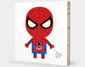 S for Spider-Man or P for Peter Parker : ABC Block Bamboo Wall Art Series // Alphabet Kids Wall Art Nursery Room Decor Superhero Sci-fi