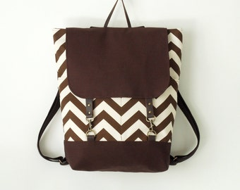 Brown chevron backpack, laptop backpack, school bag, diaper bag with 2 front pockets, Design by BagyBags