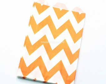 Chevron Favor Bags 12 Orange Candy Buffet Baby Shower Paper Goods Favors Kids Birthday Party Carnival Candy Bags Treat Bags Clearance sale