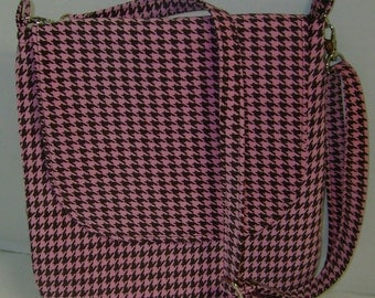 Pink and Brown Houndstooth Crossbody Purse Messenger Purse