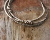 Silver Bangle Bracelet, Silver Bangle Set,  Adjustable Bracelets, Stacking Bangles, Rustic Bracelets