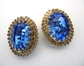 Vintage  Rhinestone Earrings - AUSTRIA Blue Crystal Large Rhinestone Earrings