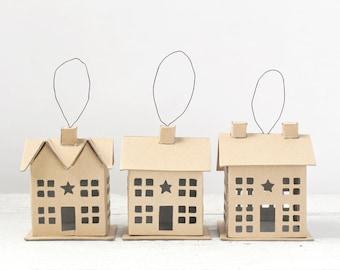 Putz House Ornament Set - 3 Cardboard Mini Cottages