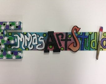ART Studio Sign with 3D Letters added and REAL paintbrush too!