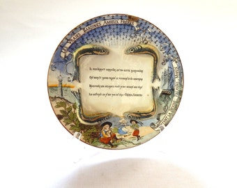 French Antique Majolica Sardine Publicity Plate c.1900-1920