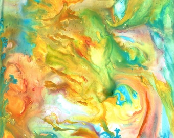 Palette Gone Wild Original Watercolor Abstract Painting Matted 20 X16