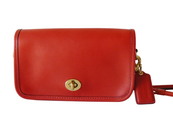 Authentic Classic Coach Flame Red Leather Demi Crossbody ShoulderBag