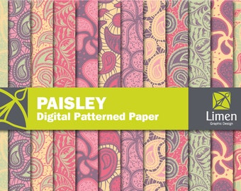 Paisley Digital Paper Pack, Paisley Paper, Paisley Patter, Paisley Background, Paisley Scrapbook Paper, Floral Digital Paper, Paisley Papers