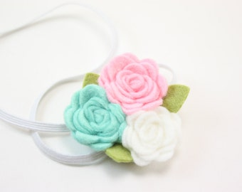 Baby Headband.  Felt Flower Headband in Pink and Mint Newborn Headband - Toddler Headband - Girls