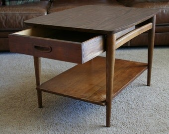 Lane Mid Century Modern End Table - Side or Accent Table - Large Living Room Furniture Piece - Dovetail Joints-One Drawer-Square Tabletop
