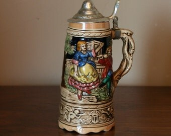 Lidded Vintage German beer stein with music box. - Made in Japan - Man Cave or Dorm Room Decor -  Old Tavern or Pub Style