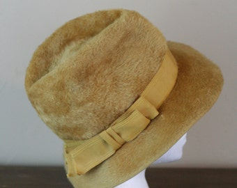 Martelle Hat - Tan Faux Fur from H.C. Prange Co. Millinary - Union Made - Flexible Fedora