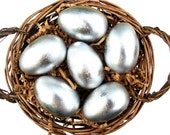 Silver Wooden Eggs 6 Waldorf Hen Eggs LARGE SIZE in Bag