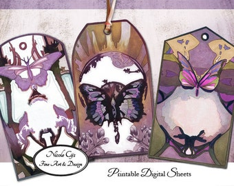 Printable Jugendstil Themed Butterfly Gift Tags, gift wrap, scrapbooking, journaling, paper goods, digital collaging, vintage, purple